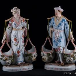Китайская пара с корзинами, Conta Boehme, Poessneck, Германия, нач. 20 в