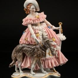 Девушка с зонтом и собакой, кружевная, Volkstedt, Германия, вт. пол. 20 в