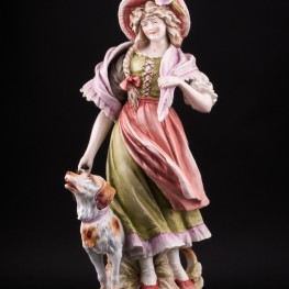 Фарфорвая статуэтка Девушка с собакой, Германия,, 19 в.