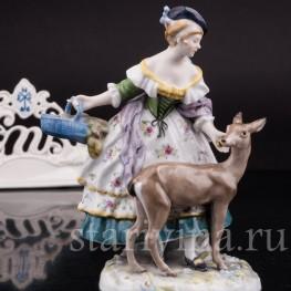 Антикварная статуэтка Девушка с ланью Karl Ens, Германия, 1920-30 гг.